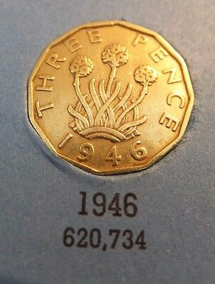1946 King George VI Brass Threepence Key Date Good Condition