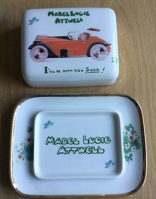 Shelley Butterdish By Mabel Lucie Attwell. Vintage Motor Car design.Flowers base
