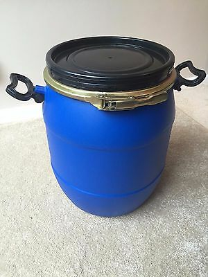 New Plastic Drum Keg Oil Storage Bulk Barrel Open Top Liquid Container; 25 Litre