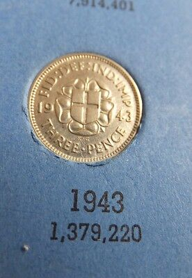 1943 George VI Silver Threepence  - 3d - Key date, VERY GOOD COIN