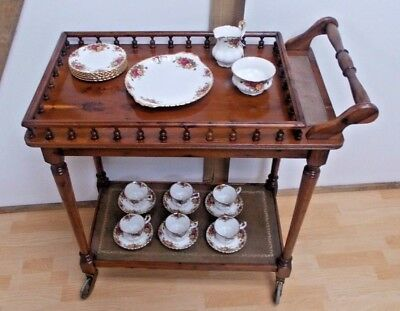 Yew Wood Edwardian Galleried Tray Drinks Cocktail Serving Buffet Trolley
