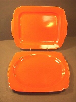 """2-HOMER LAUGHLIN RIVIERA RED PLATTERS:11.5"""" w/ OVAL WELL & 12"""" w/ SQUARE WELL"""