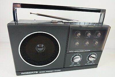 ROBERTS RP20 AM/FM 3-Band 6 Preset Stations Portable Radio