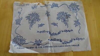 """Vintage Briggs iron on embroidery transfer flower pattern - sheet 9"""" x 12 """""""