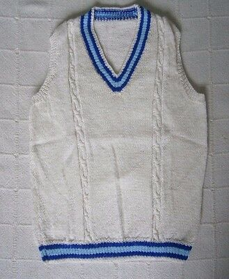 "Vintage Hand-Knit Cricket Pullover - 12-16 Years - 32""-38"" - White/Blue - New"