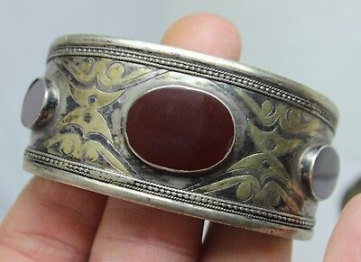 Rare Vintage Antique Egyptian Revival Sterling & Carnelian Cuff Bracelet Snake
