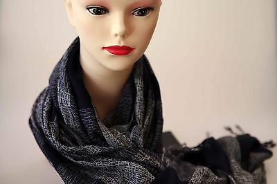 SABA Emilie Tassel long scarf check navy-light grey colour new with tag cotton