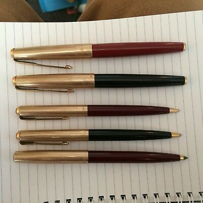 Collection Of Gold Parker Pens And Pencils Including 61 Fountain Pens