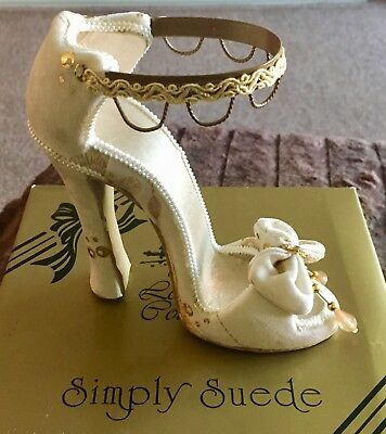 New Leonardo Collection Simply Suede Beige And Gold Miniature Shoe Bnib