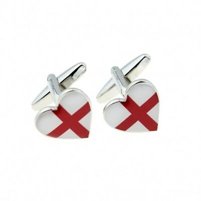 George Cross England Flag Heart CUFFLINKS Christmas Birthday Present Gift Box