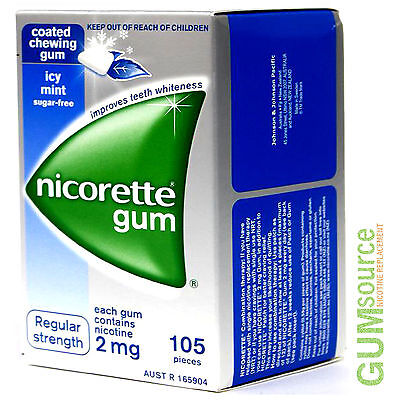 Nicorette 2mg COATED ICY MINT  1 dented box 105 pieces Nicotine Quit Smoking Gum