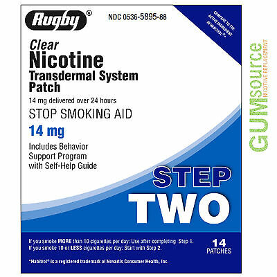 Rugby Nicotine Patch Step 2 (14mg) Clear  1 box 14 patches