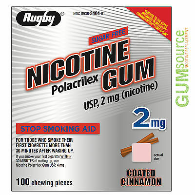 Rugby Nicotine Gum 2mg Coated Cinnamon  1 box 100 pieces