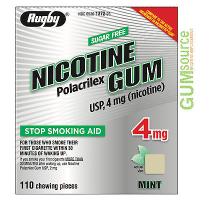 Rugby Nicotine Gum 4mg Uncoated Mint  1 box 110 pieces
