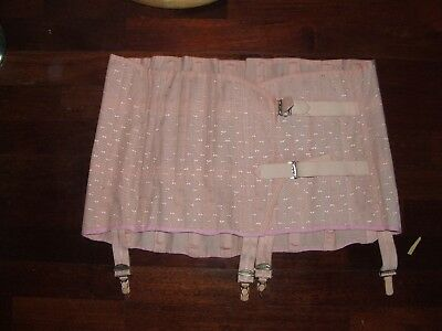 "1960 s Peach Brocade 4 suspender reducing  girdle size 39"" to 46"" fully open S77"