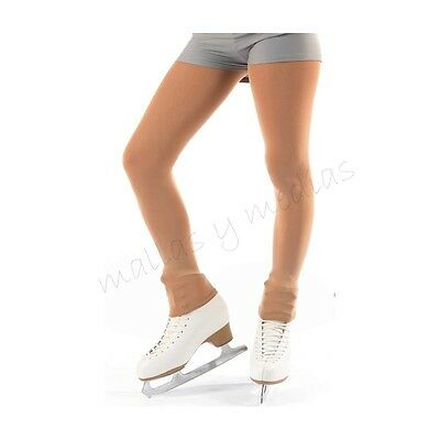 Footless Ice Roller Skating Skate Dance Tights 70 Denier Black/natural Tan