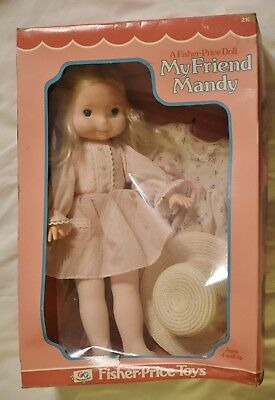 """VINTAGE 1977 FISHER PRICE MY FRIEND MANDY DOLL and 2 OUTFITS NRFB 15"""" BLONDE"""