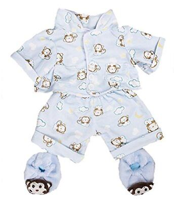 Blue Monkey PJs Pyjamas with Slippers 8 20cm Teddy Bear Clothes Outfit