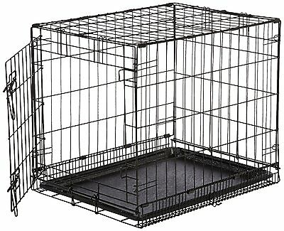 Single-Door Folding Metal Dog Crate - Small (24x19x18 Inches)