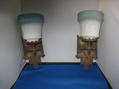 Pair of Antique Wall Sconces with Shades Art Nouveau Deco