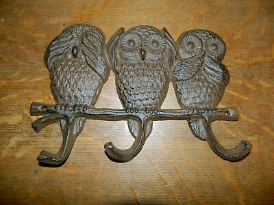 "9"" Rustic Triple Owl Cast Iron ""See Hear Say No Evil"" Wall  Coat Towel Key Hook"