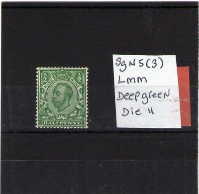 Gb King George V Mint Stamp Mackenanal Sg N5 ( 3 ) Deep Green Die 2
