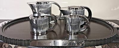 """French  Puiforcat French """"etchea"""" Art Deco Silver Tea Coffee Rosewood 1980's"""