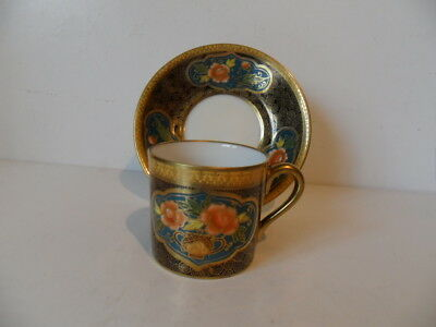 Noritake Vintage Coffee Can And Saucer Blue Backstamp