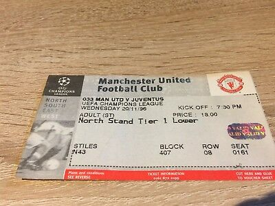 Manchester United V Juventus Champions League- November 1996 Ticket Stub