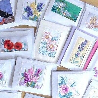50 Flower embroidered cards £20 Ideal For Craft Fairs, Retail Or Fundraisers