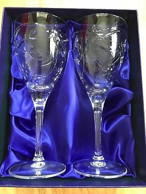 Royal Doulton, Jasmine patterned, boxed pair of wine glasses