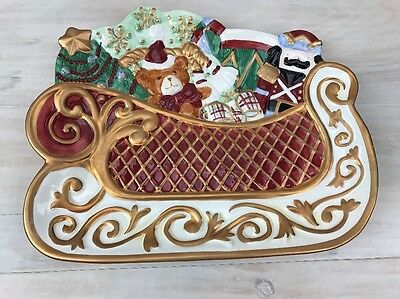 St. Nicholas Collection Cookie Plate Christmas Holiday Sleigh Sled Plate Avon