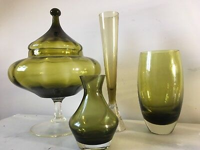 Gorgeous Olive Green Mixed  Lot 4 x Retro / Vintage 70's ART GLASS Vases