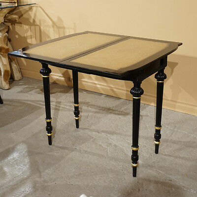 Beautiful Mahogany Folding Games table with Genuine Leather top Ebony and Gold