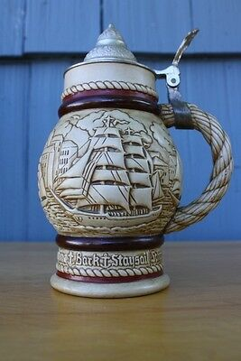Vintage Nautical Ship Boat Sailing Handcrafted Lidded Stein or Mug