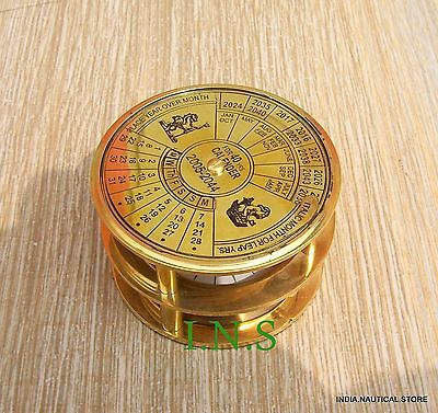 Maritime Calender Antique Brass Sundial Compass Nautical Gift Marin