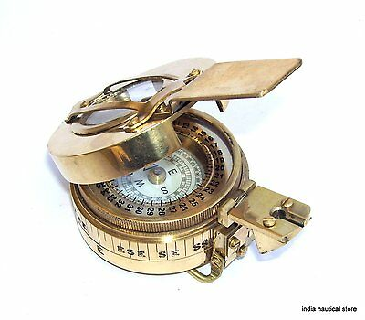Nautical Brass Marine Military Compass Vintage Collectible Decor Items