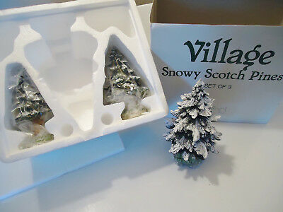DEPARTMENT 56 ORIGINAL Village Snowy Scotch Pines SET OF 3 TREES #52615 New
