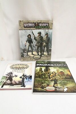 Savage Worlds RPG Lot Deluxe Explorer's Rulebook Broken Earth Weird Wars II