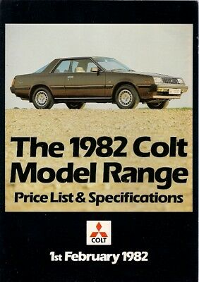Mitsubishi Colt Specification 1982 UK Foldout Brochure Lancer Galant Sapporo