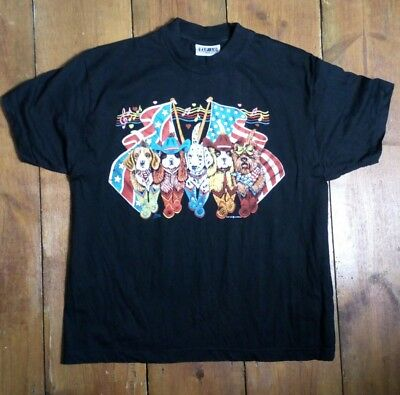 Vintage 90S Country And Western American Cowboy Novelty Dogs Print T Shirt Retro