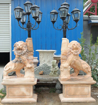 Stunning Garden Outdoor Beige Marble Lions Sculptures Lamp Posts,5 Lights,87''H.