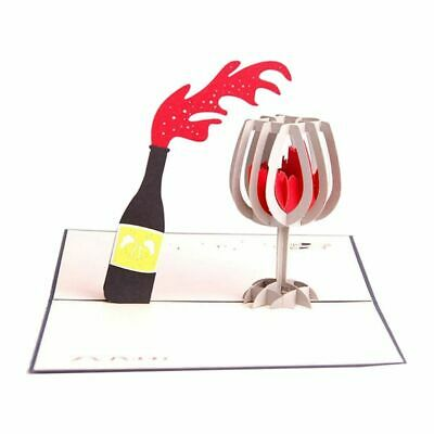 Cards 3D Pop Up Red Wine Thank You Greeting Cards for Every Occasion Q5M7