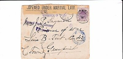 P.O.W. Boer War Cover Front from Kroonstad Orange Free State to Green Point Camp