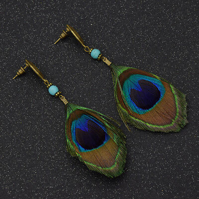 Women Rhinestone Feather Long Earrings Ethnic Bohemian Earrings Fashion Jewelry