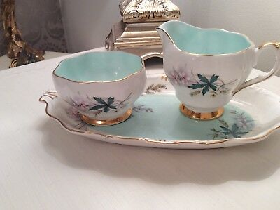 LOUISE BY Queen Queen Anne  bone china jug sugar bowl and tray set