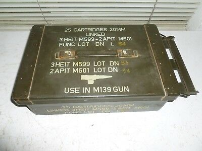 Vtg US Military 20mm Ammo Can Box for M139 gun 25 cartridges/Clean & Tight Fit!