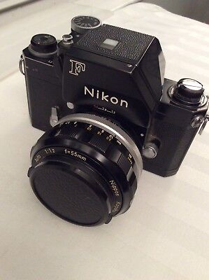 Nikon Camera F w/ 55 mm 1:1.2 Nikkor -S lens all black w/ view box / eye level