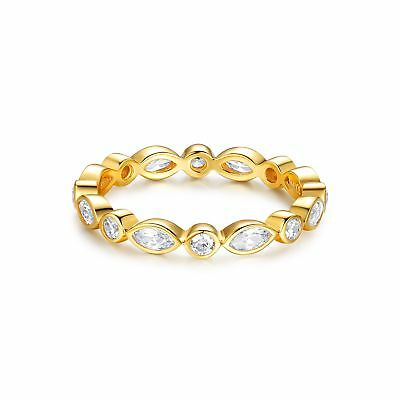 Alluring Brilliant Marquise Cut Stackable Ring Sterling Silver Gold GP