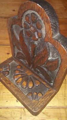 Vintage rustic chip carved wood shelf book end